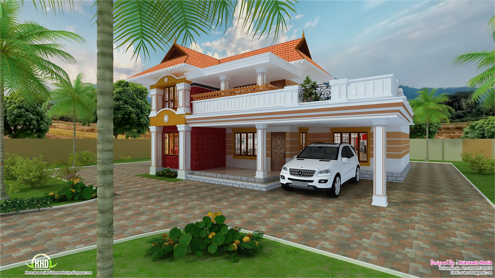 2700 beautiful villa design kerala home for Beautiful home designs photos