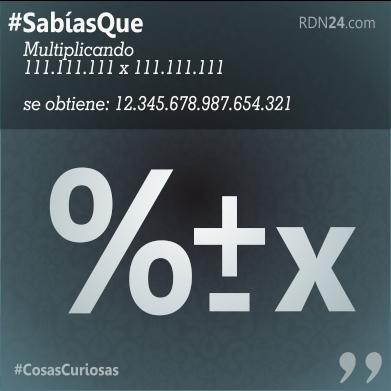 #SabíasQue Multiplicando 111.111.111 x 111.111.111…