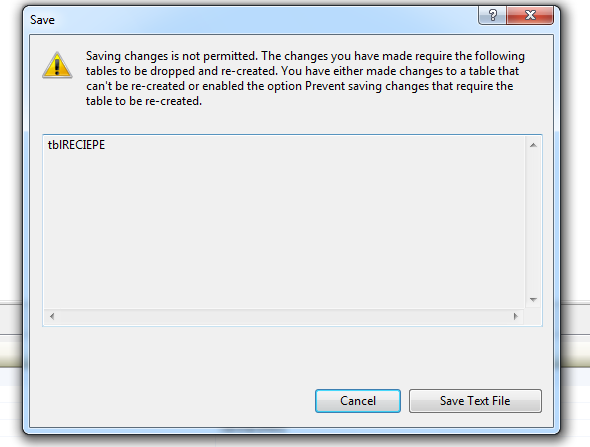 Error saving changes is not permitted in MSSQL Server