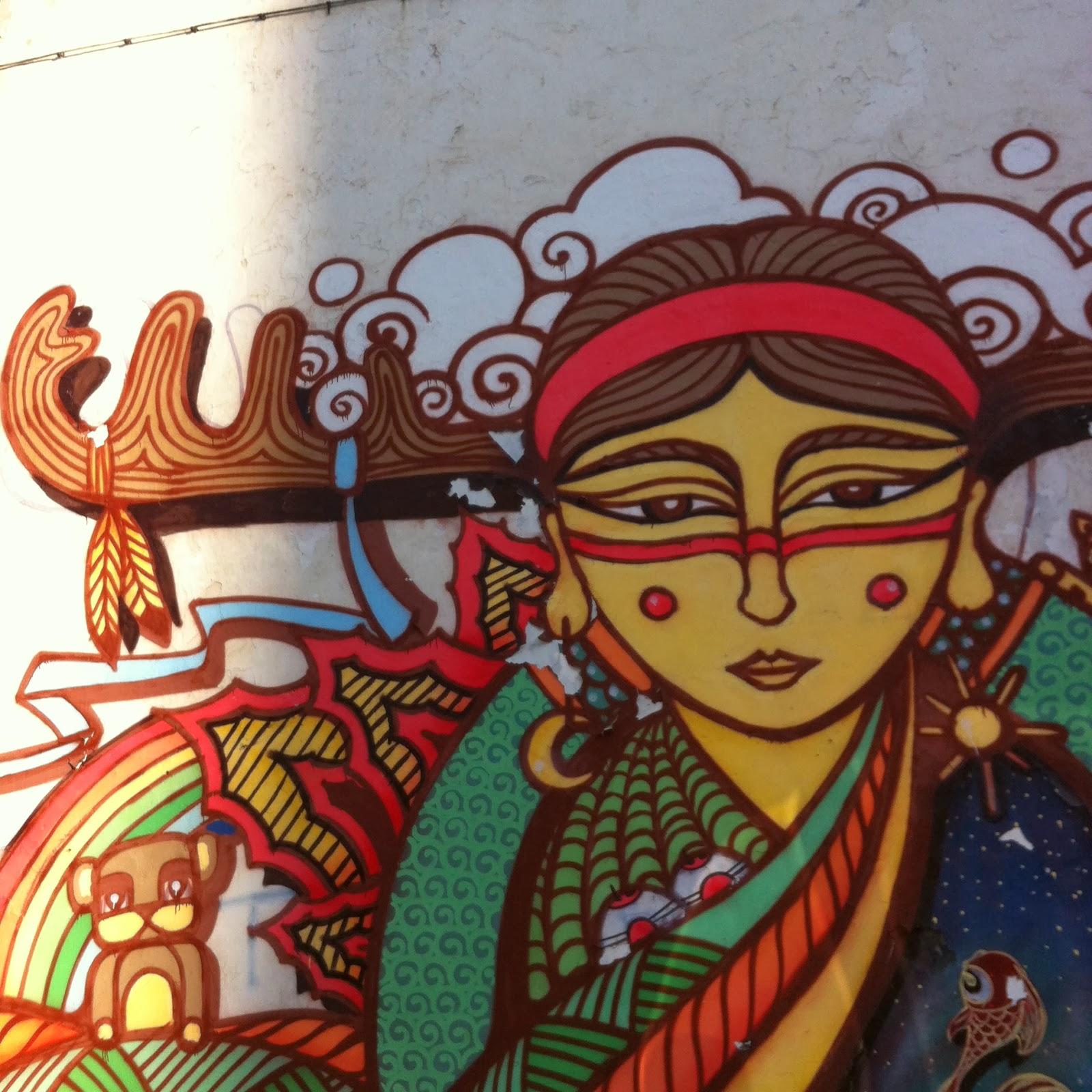Achille et sa m re en mongolie dessin mural for Dessin mural