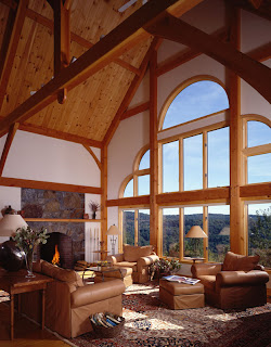 timber frame features views of the green mountains