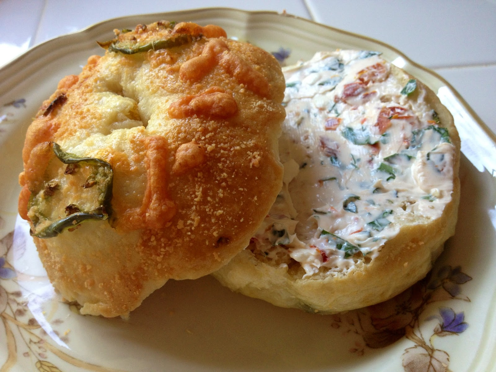 ... cheddar jalapeno bagels w/sun-dried tomato + herb cream cheese spread