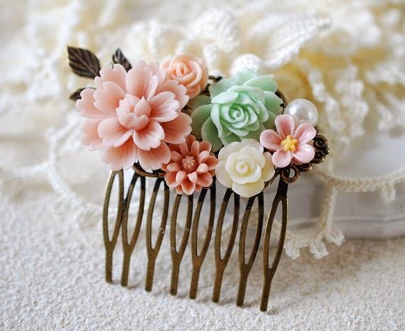 garden style flower hair comb