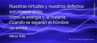cita de Nikola Tesla sobre fondo orgánico azul