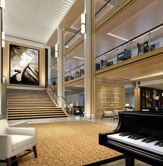 The Viking Star Piano Atrium Lounge. All photos: © Viking Cruises. Unauthorized use is prohibited.