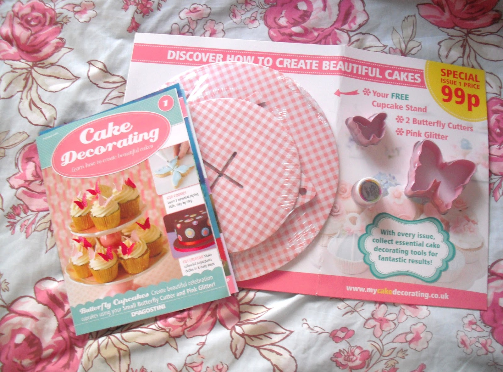 The Magazine Is Simply Called Cake Decorating And The Free Gifts It Came With Were A Pink Gingham Printed Cardboard Cupcake Stand A Pot Of Pink Edible