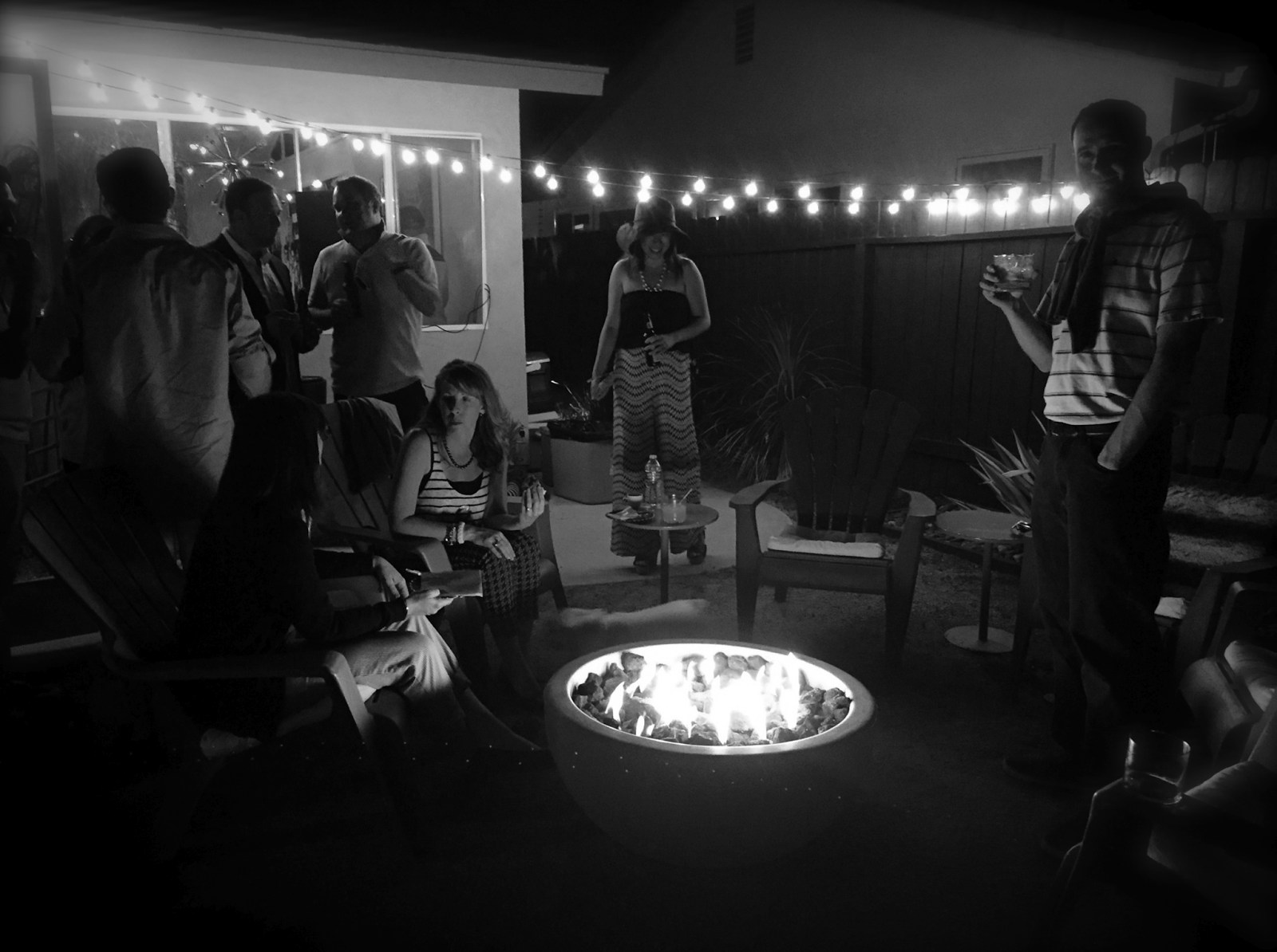 Fire Pit, String Lights, Cocktail Party