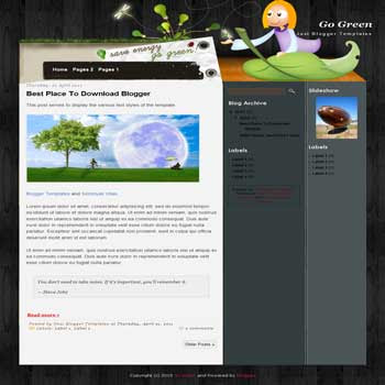 Go Green Blogger Template. blogger template from wordpress theme