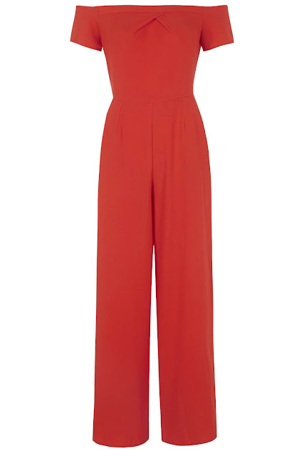 red love jumpsuit, red off shoulder jumpsuit,