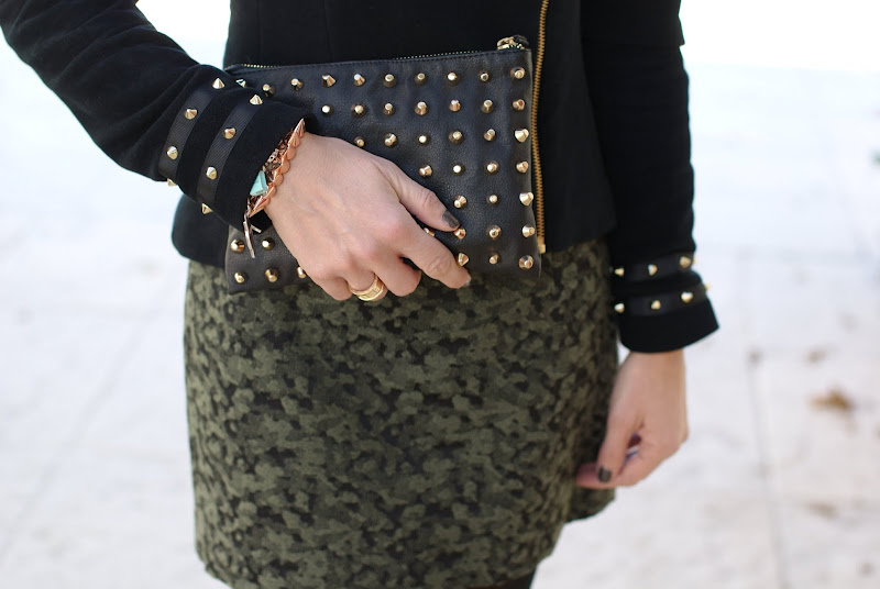 Zara studded clutch, BVLGARI BZero ring