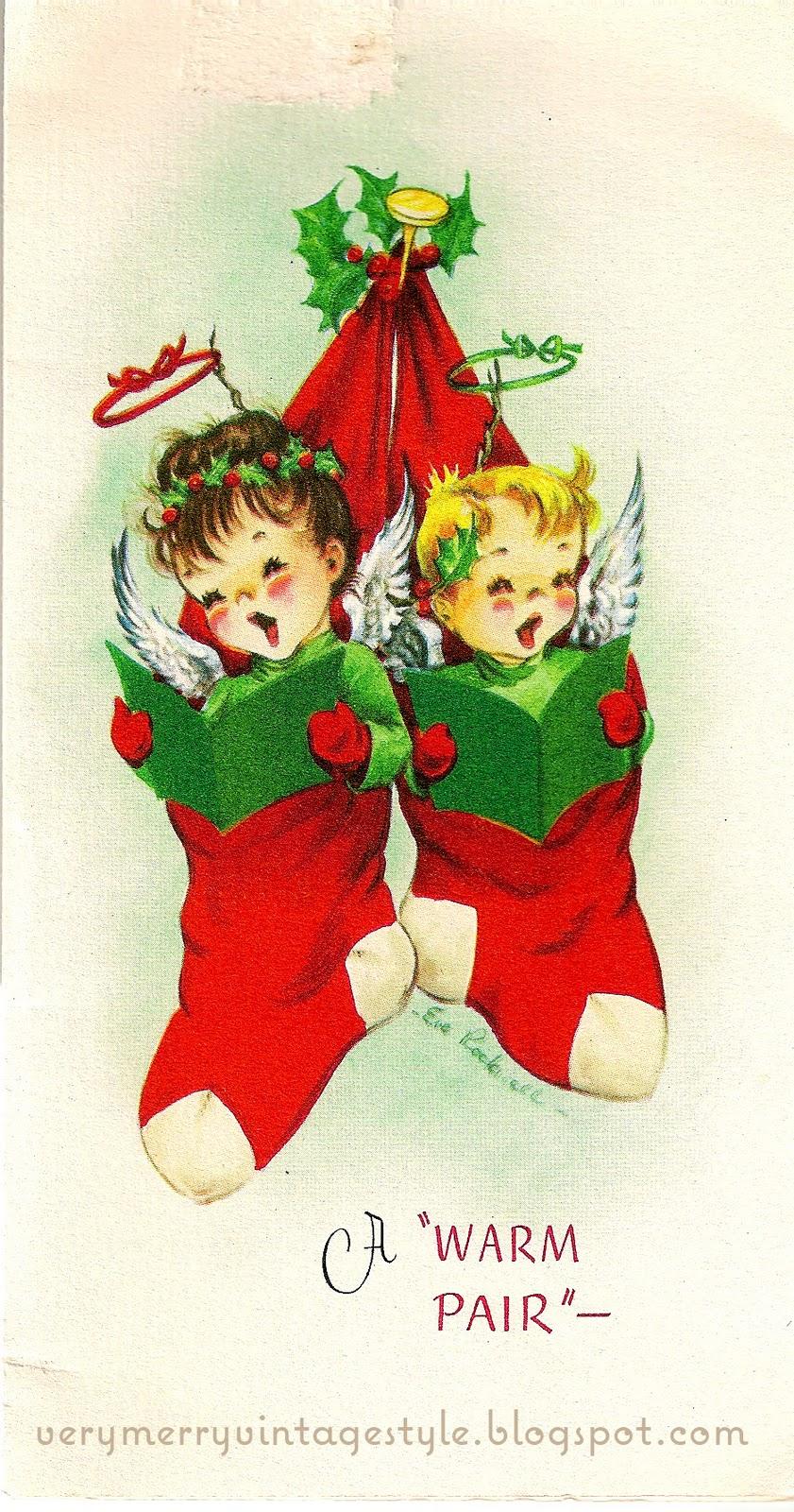 Very Merry Vintage Syle Angels Singing Carols In
