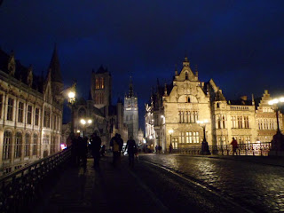 St Micheal's bridge view by night in Ghent, Belgium