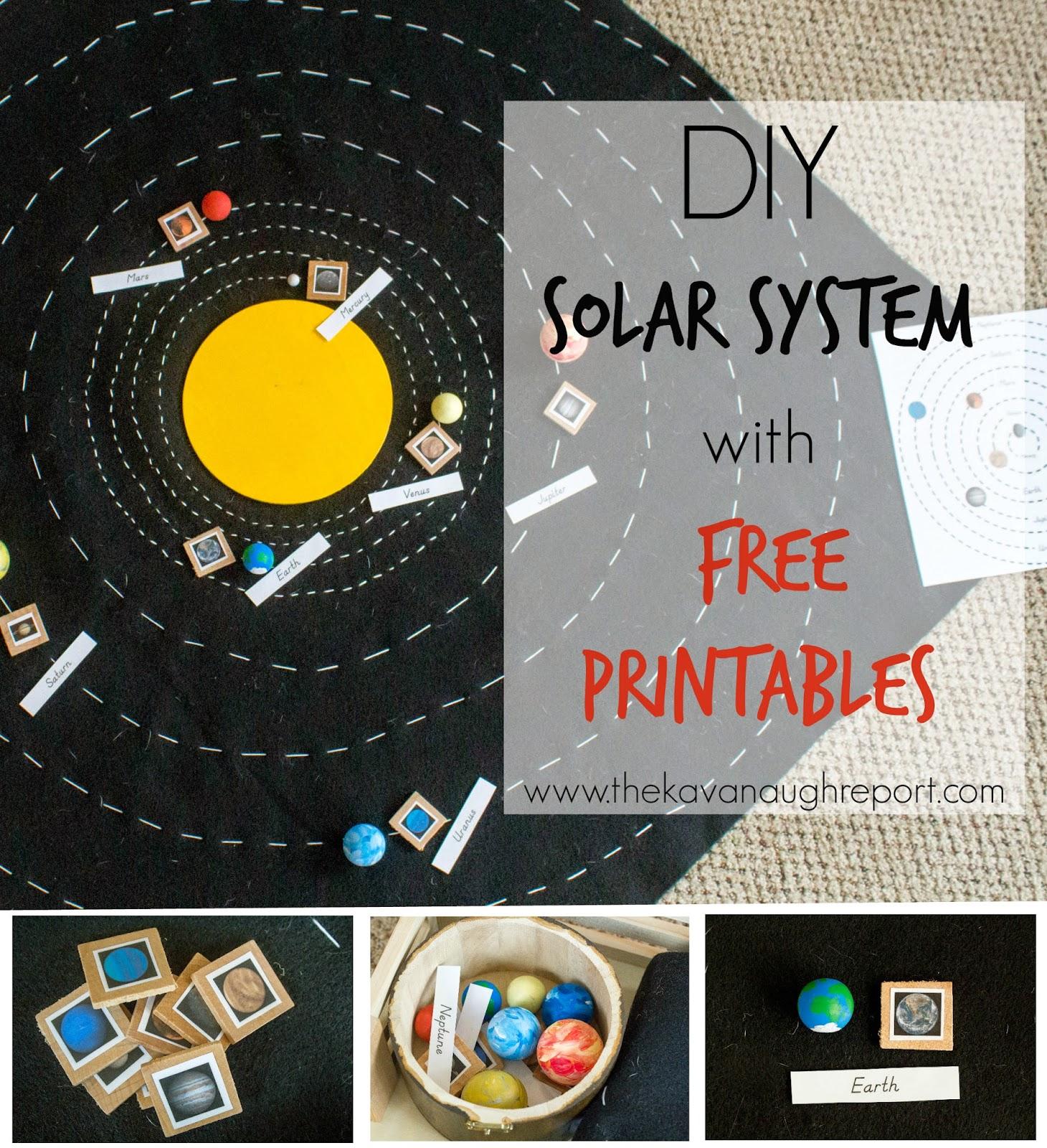 Montessori, space, solar system, printables, preschool