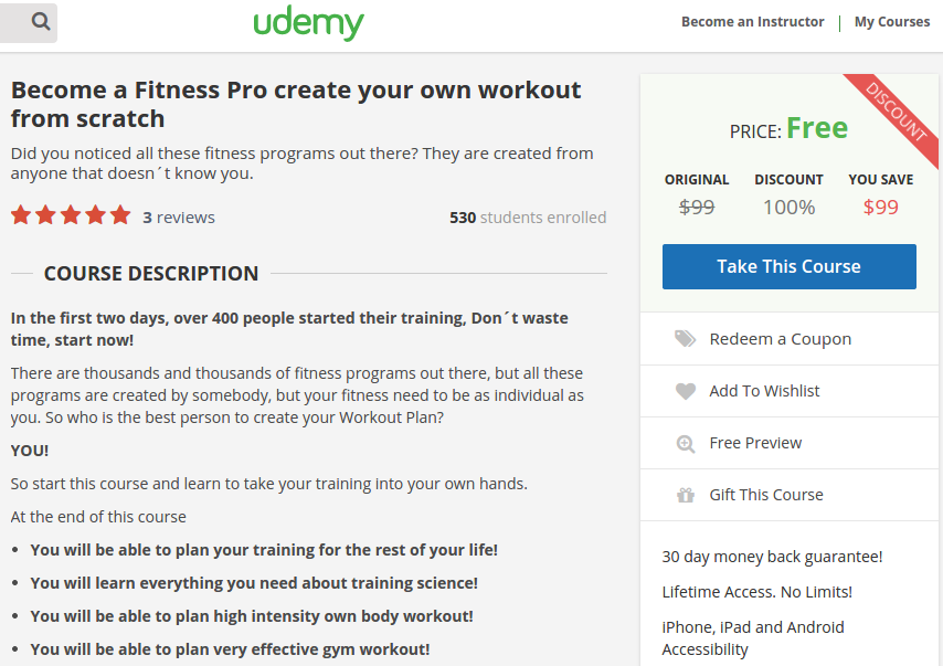 100  free coupon codes   udemy course coupon code  become a fitness pro create your own workout