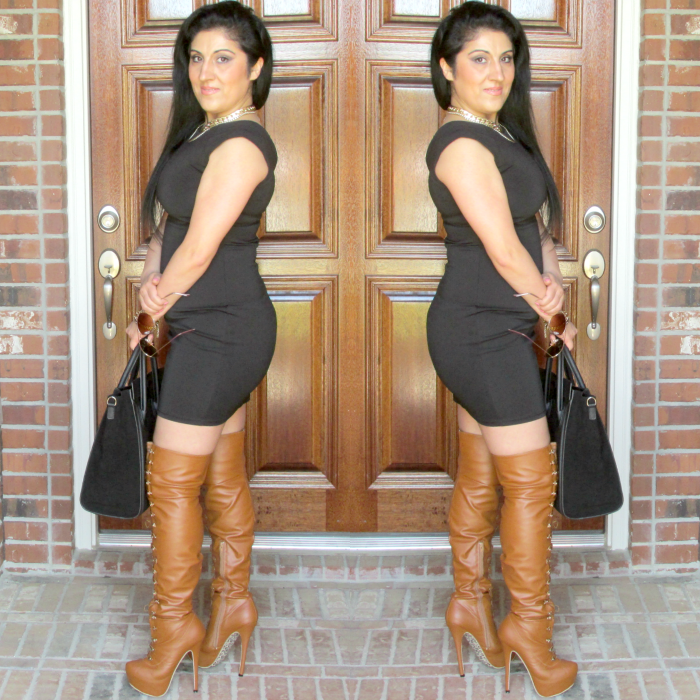 Outfit of the day with thigh-high boots in camel