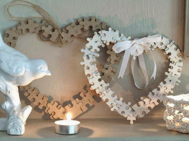 valentines puzzle heart wreath