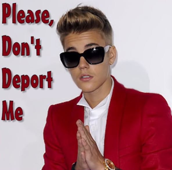 Bieber begs to not be deported