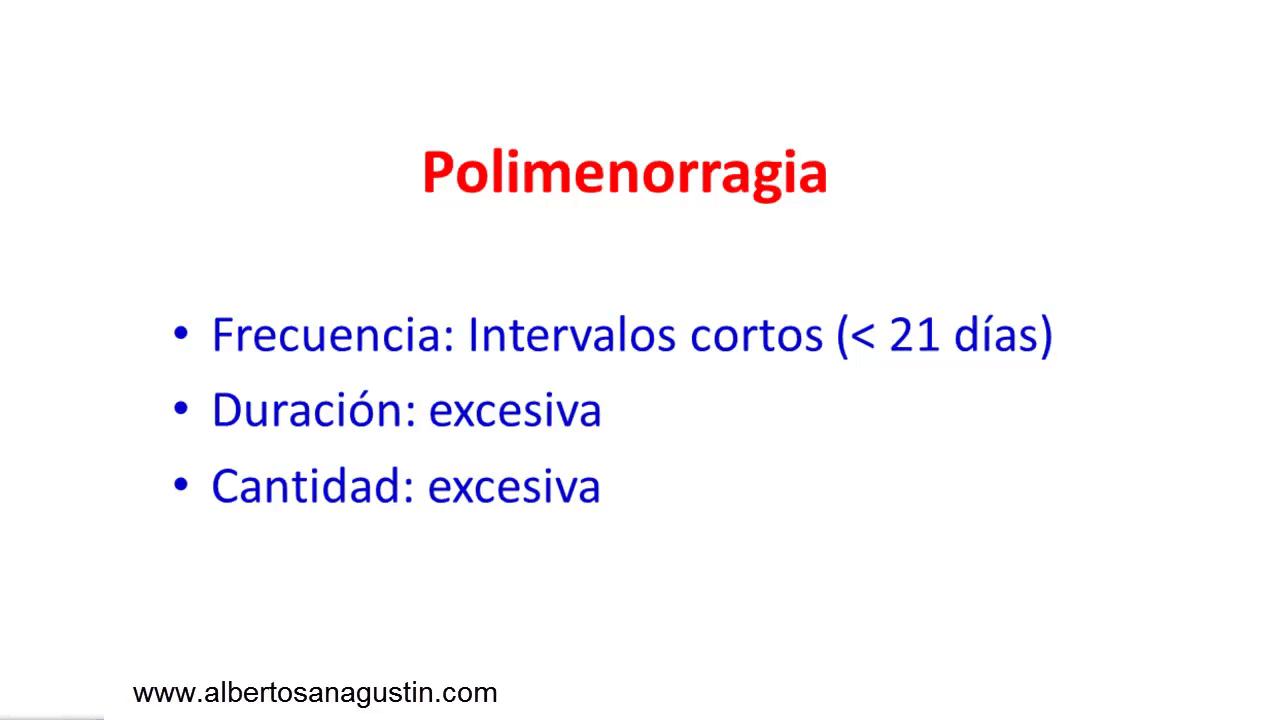 trastornos menstruales: polimenorragia