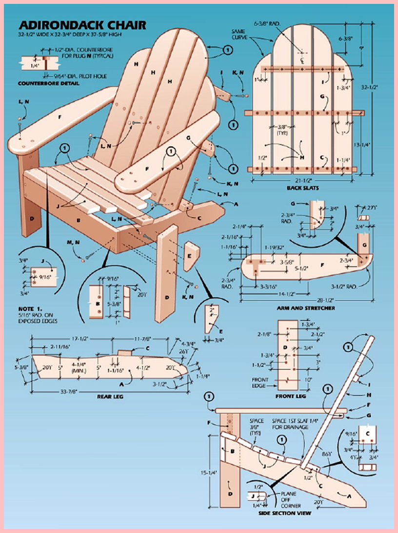 adirondack chair plans large