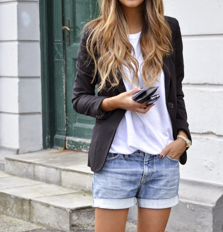 Denim Shorts With White T-shirt And Black Jacket