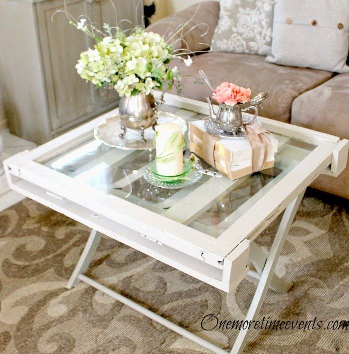 Old Vintage Window Coffee table before it was broken at One More Time Events.com