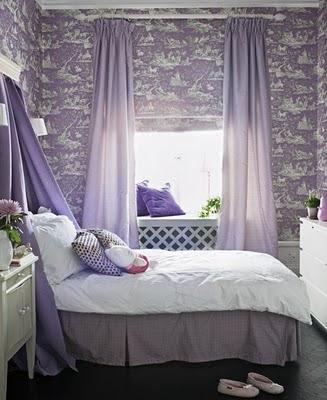 decoración de dormitorio púrpura