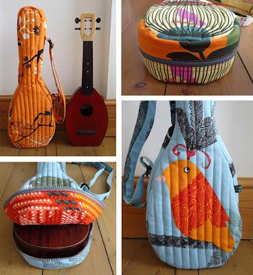 Ivy Arch bird print uke gig bags - detail
