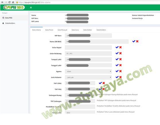 Gambar: Formulir data kepegawaian ePUPNS