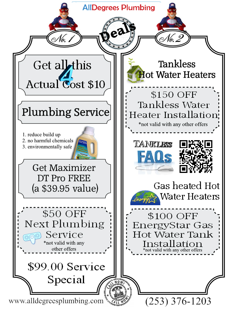 plumbing offers from All Degrees Plumbing Tacoma wa