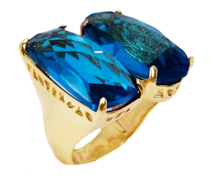 Anel folheado a ouro 18k.  Com duas pedras naturais Topázio azul facetado.