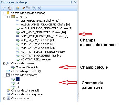 Champs de base de donées - Crystal Reports