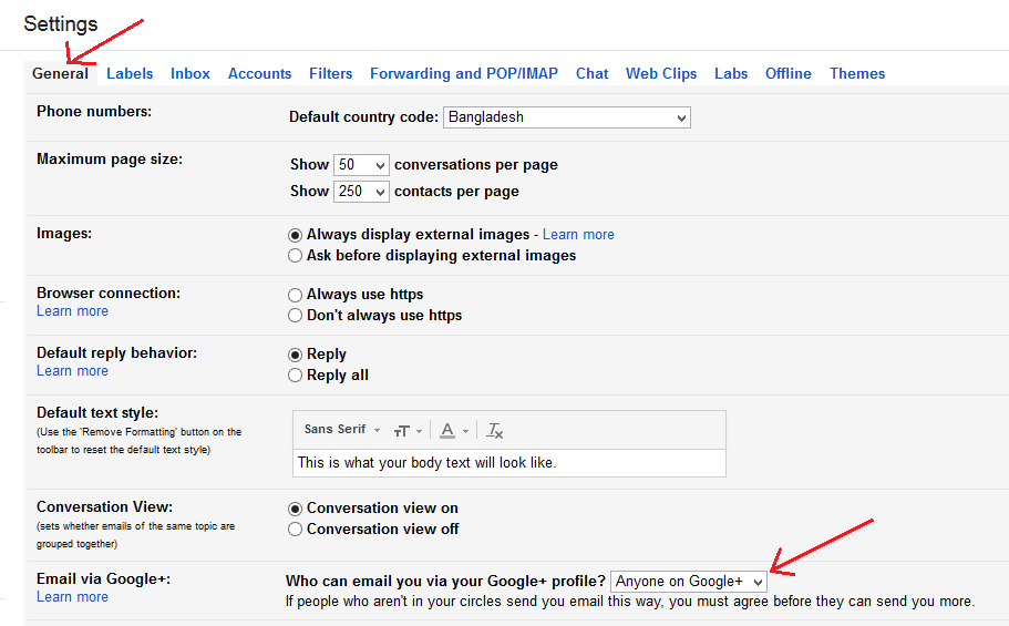 Gmail settings general