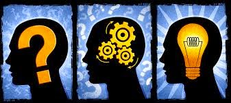 There are three dark silhouettes of a mans head facing the left. In the first head there is a question mark. In the second head there are three gears turning. In the third head there is a light bulb.