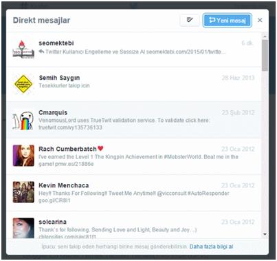 Twitter Hesabında Direk Mesajları Silme
