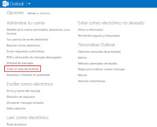 crear alias en outlook