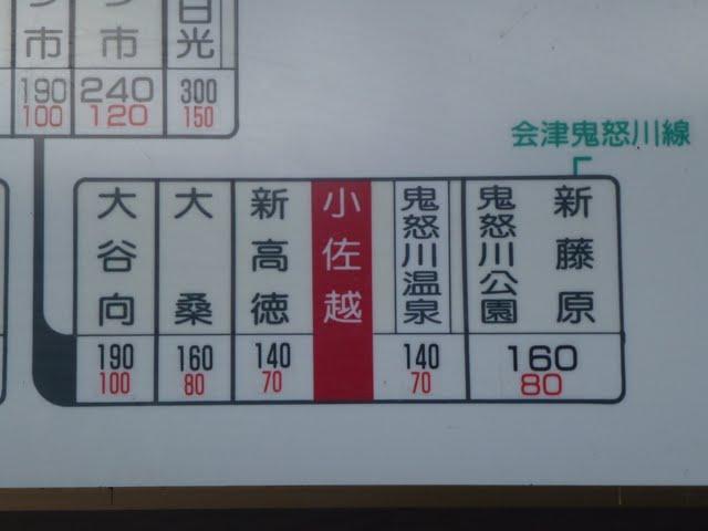 東武鬼怒川線 小佐越駅 運賃表