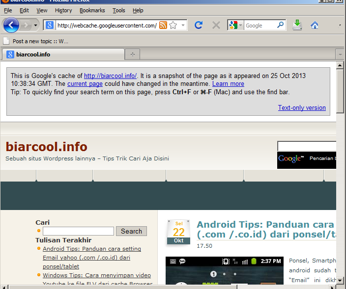 Internet Tips Google webcache melihat halaman situs website down offline mati link 2