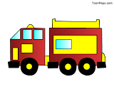 Free Printable Fire Engine Dotted drawing for kids