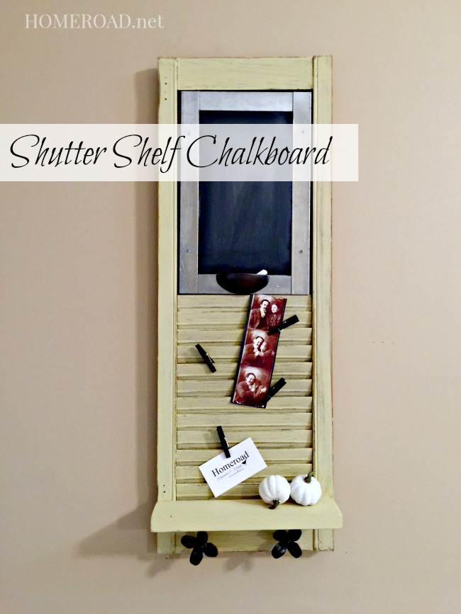 Beautiful Vintage Shutter Shelf Chalkboard www.homeroad.net