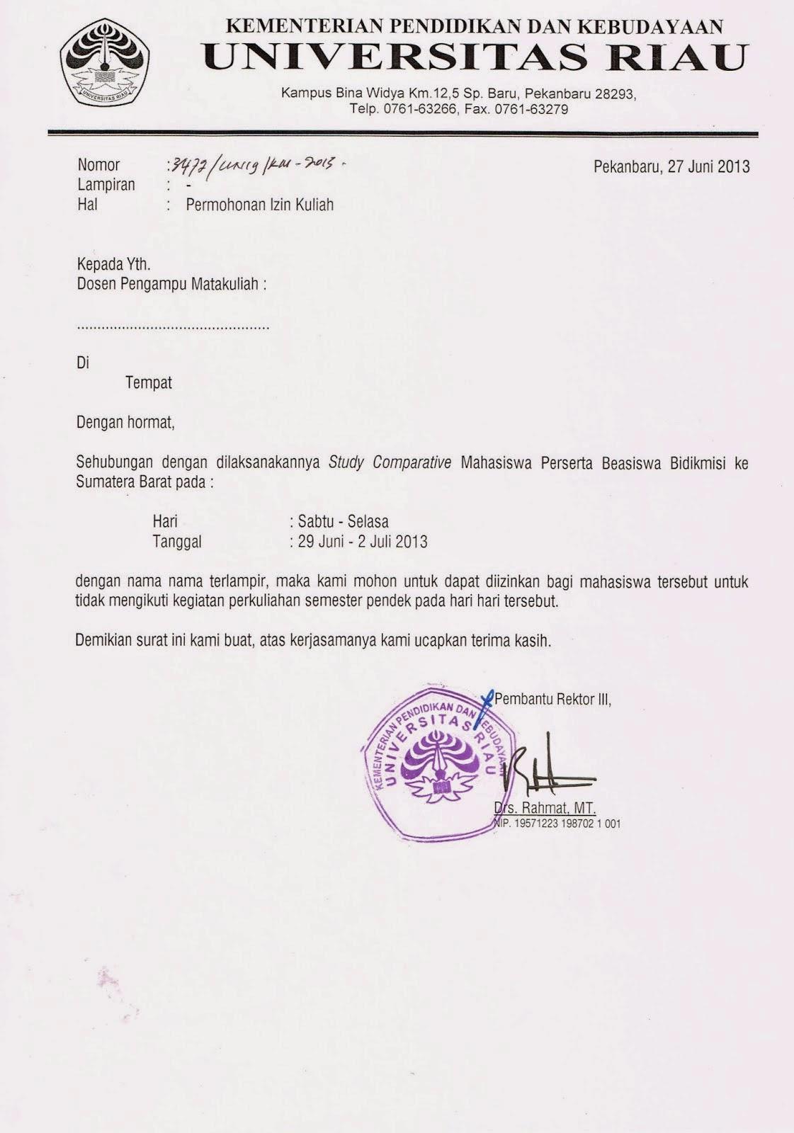 Contoh Surat Izin Tidak Masuk Kuliyah   Skripsi PAI