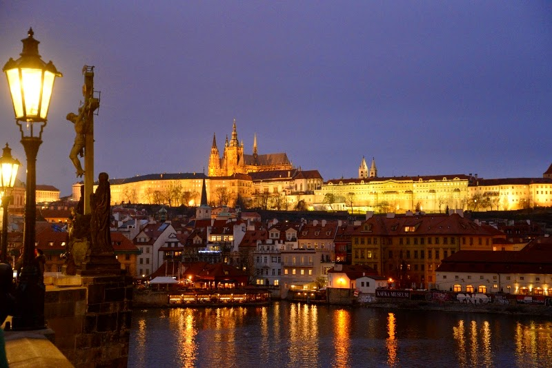 View from the charles bridge of the prague castle