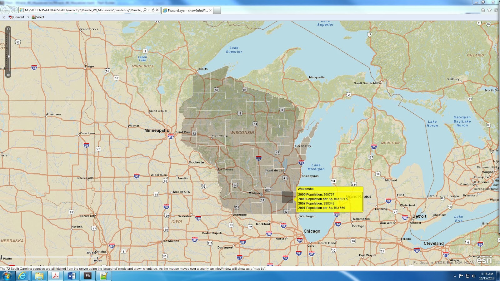 after adjusting the zoom values the web map application now displays data for wisconsin instead of south carolina