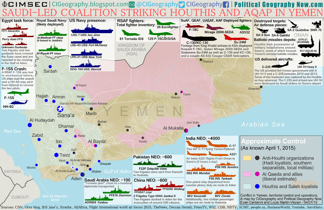 Map of territorial control in Yemen at the beginning of April 2015, with infographic on foreign military deployments to the country.