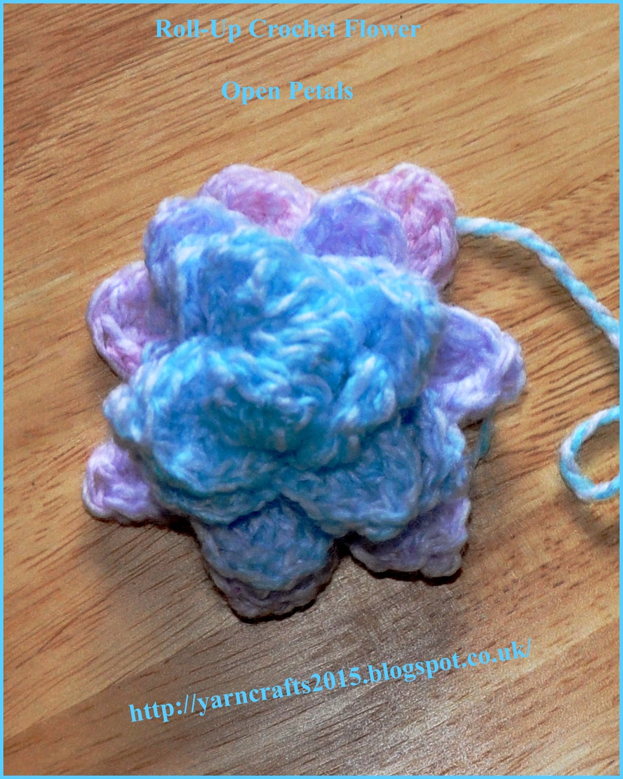 crochet flower open petals