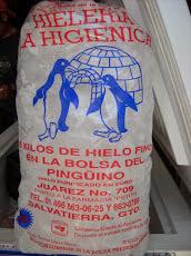 """Fábrica de cubitos de hielo """"La Higiénica"""", con la bolsa del pingûino"""