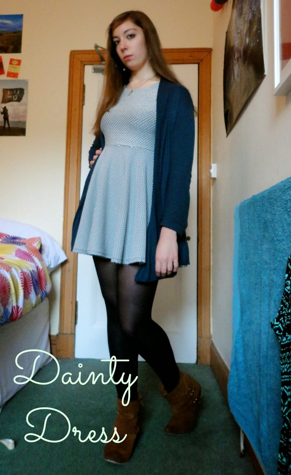 Dainty black & white dress with blue cardigans & brown ankle boots winter outfit