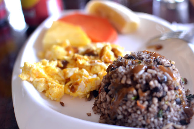 rice beans lisano salsa lizano scrambled eggs fresh fruit mango papaya