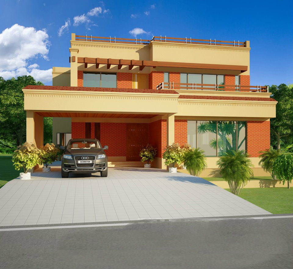 All architectural designing 3d house front elevation for Pakistani homes design