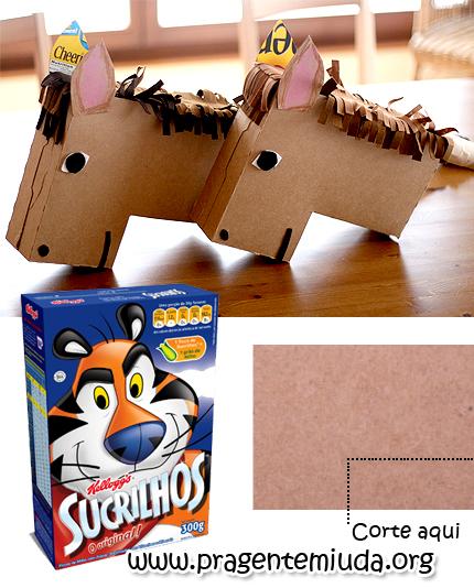 como fazer um cavalinho com caixa de papelão