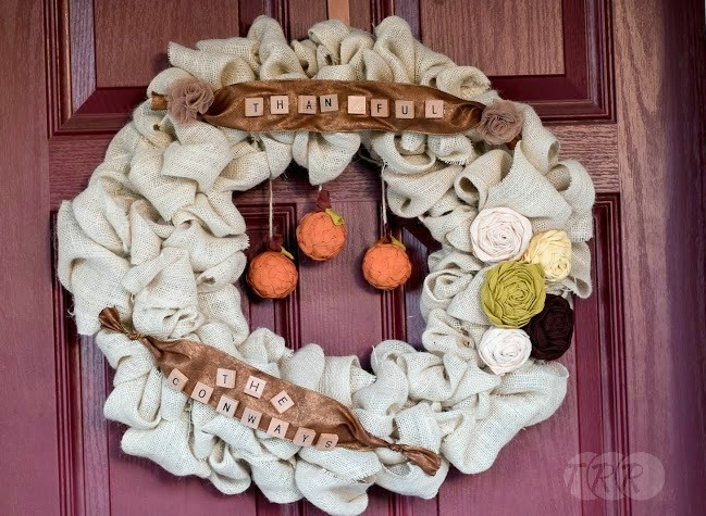 Thanksgiving fall burlap wreath